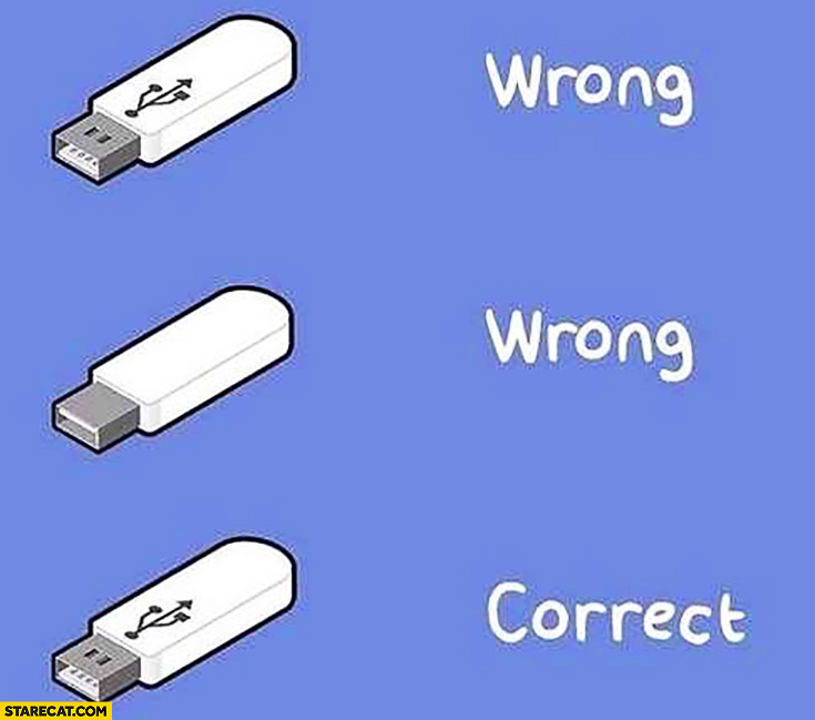 When trying to use USB stick wrong wrong correct
