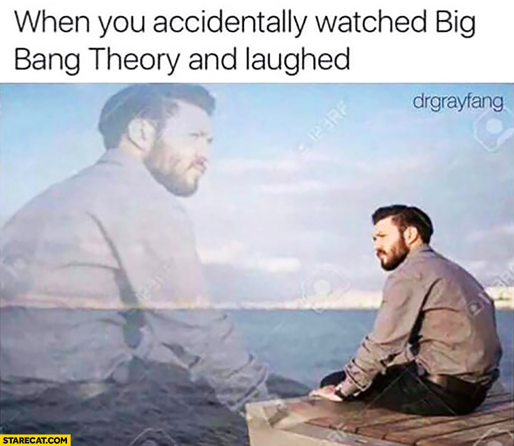 When you accidentally watched Big Bang Theory and laughed depressed man