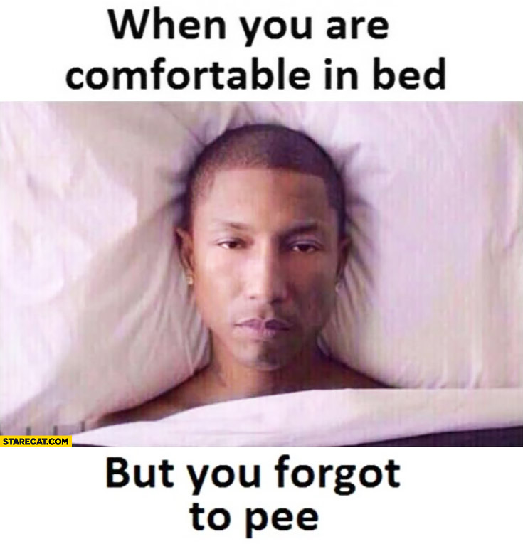When you are comfortable in bed but you forgot to pee Pharrel Williams