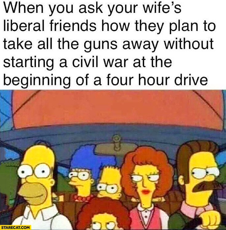 When you ask your wife's liberal friends how they plan to take all the guns away without starting a civil war at the beginning of a four hour drive The Simpsons