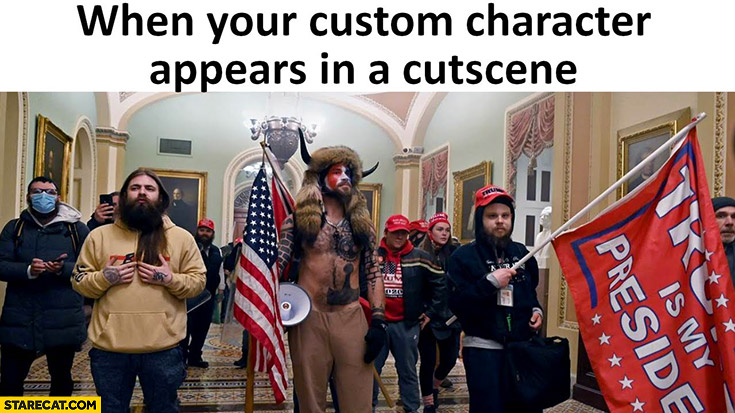 When you custom character appears in a cutscene Trump supporters capitol