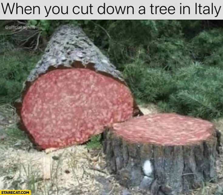 When you cut down a tree in Italy salami inside