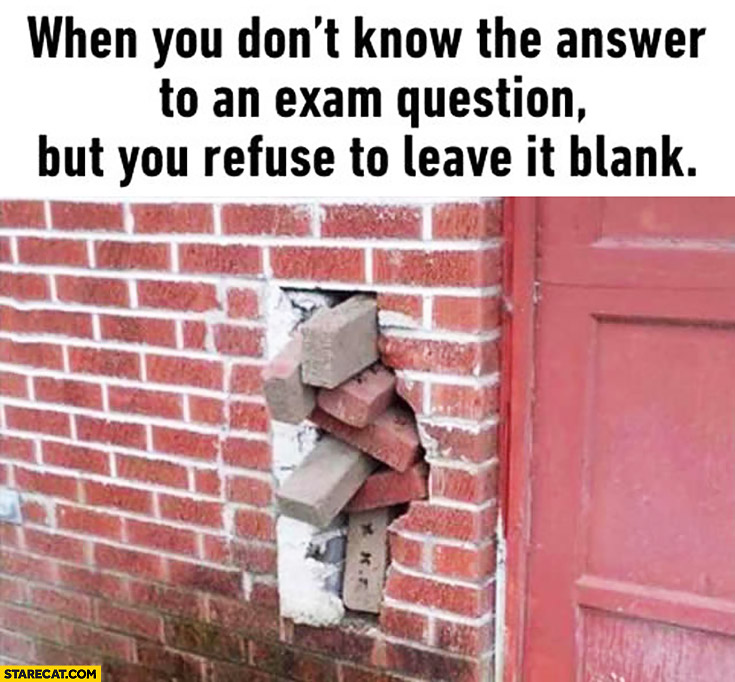 When you don't know the answer to an exam question but you refuse to leave it blank bricks filling hole in a wall