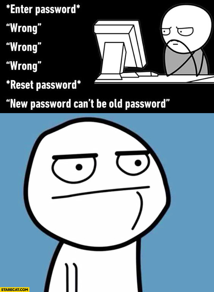 When you enter wrong password, then reset password and there is new password can't be old password