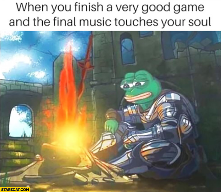 When you finish a very good game and the final music touches your soul frog pepe meme