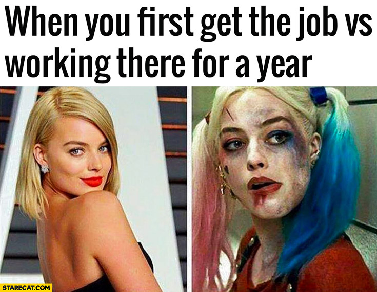 When you first get the job vs working there for a year comparison. Harley Quinn Suicide Squad