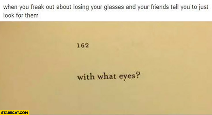When you freak out about losing your glasses and your friends tell you to just look for them. With what eyes?