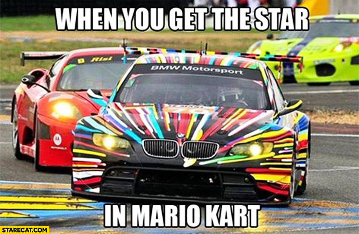 When you get the star in Mario Cart colorful BMW racing car