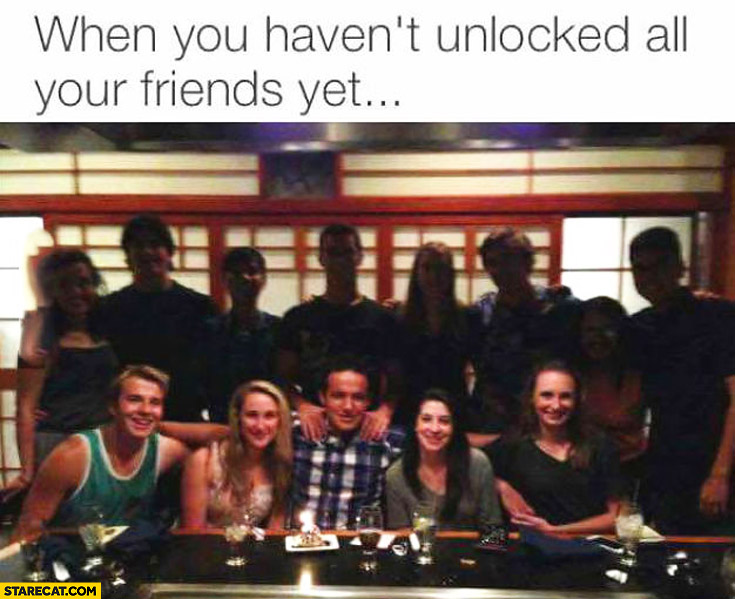 When you haven't unlocked all your friends yet dark people