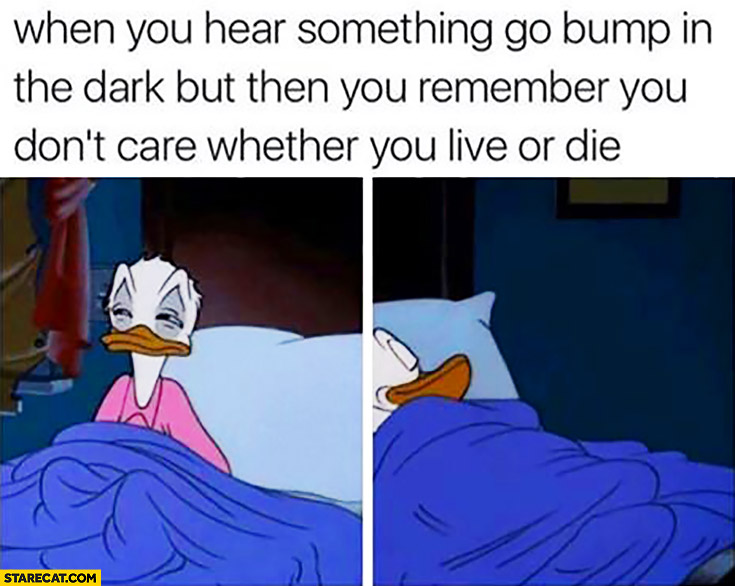 When you hear something go bump in the dark but then you remember you don't care whether you live or die. Donald Duck