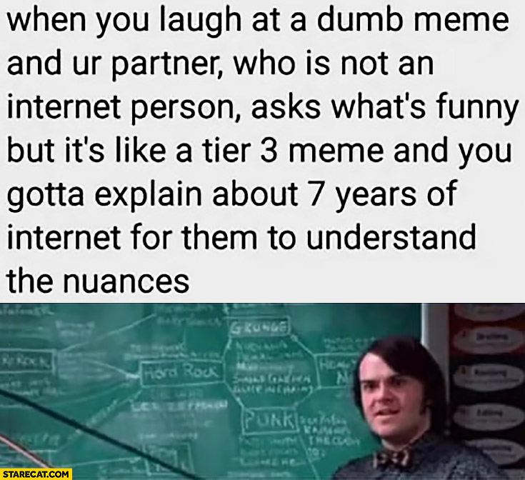 When you laugh at a dumb meme and your partner asks what's funny but it's a tier 3 meme and you gotta explain 7 years of internet to tell the nuances