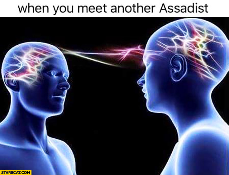 When you meet another Assadist brain connection meme