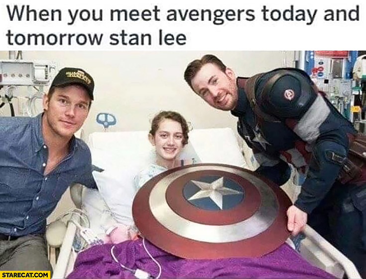 When you meet Avengers today and tomorrow Stan Lee sick girl at hospital