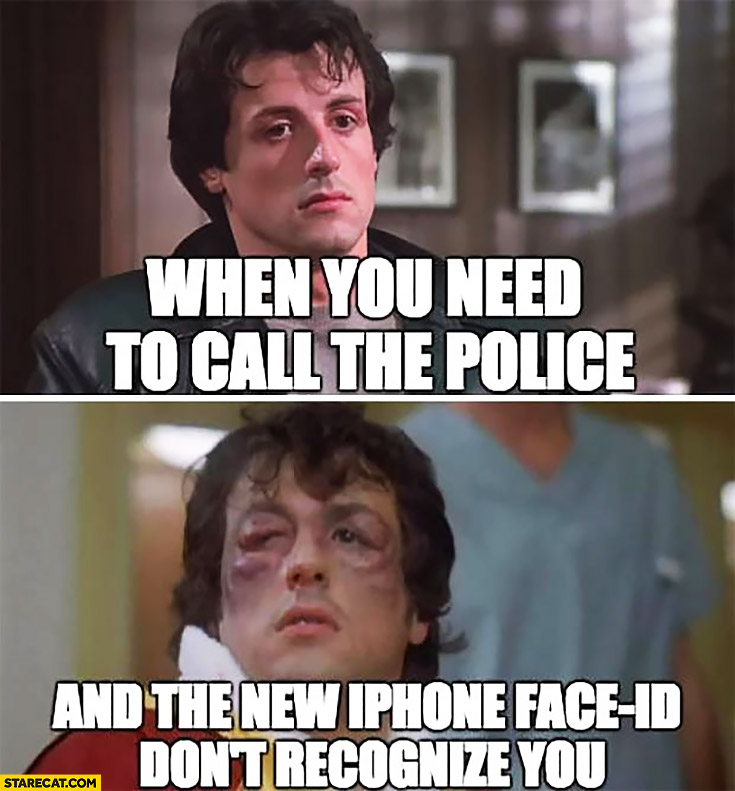 When you need to call the police and the new iPhone face ID don't recognize you Sylvester Stallone beaten up