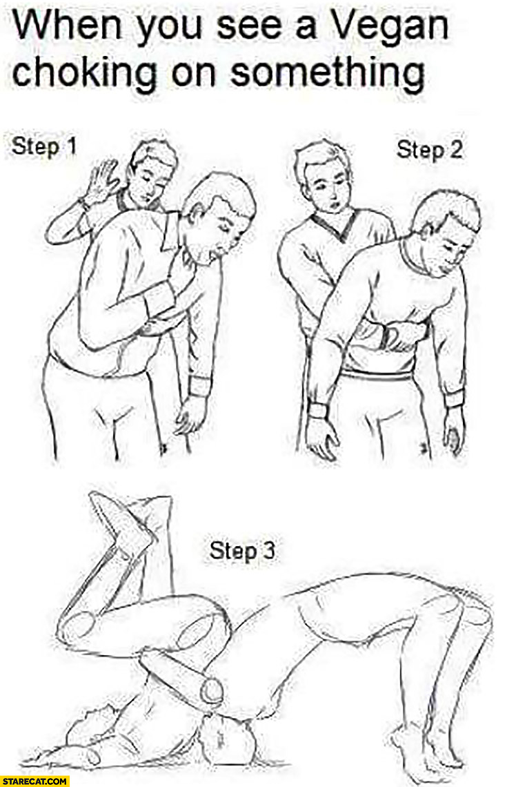 When you see a vegan choking on something how to help steps break his neck trolling