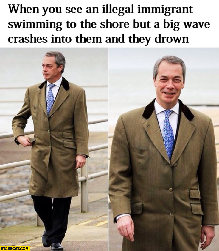 When you see an illegal immigrant swimming to the shore but a big wave crashes into them and they drown Nigel Farage