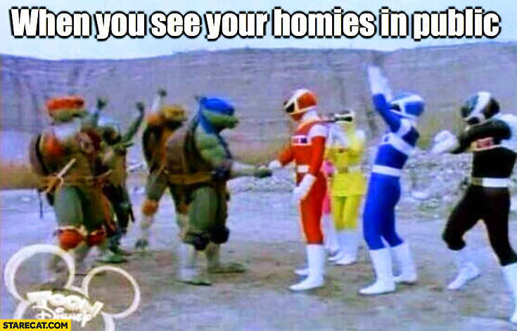 When you see your homies in public Power Rangers Turtles