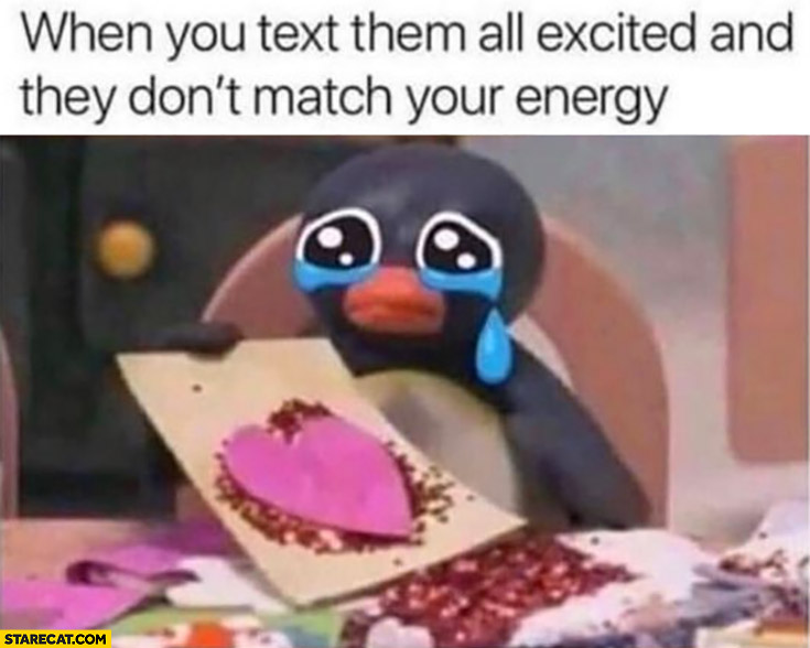 When you text them all excited and they don't match your energy sad penguin crying
