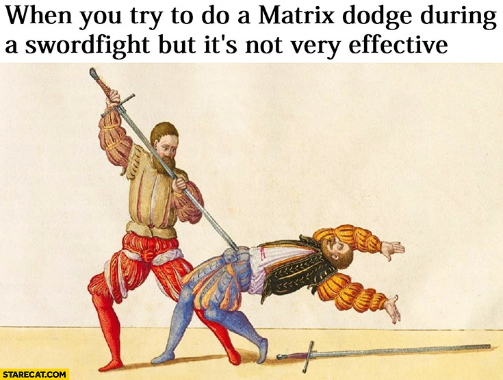 When you try to do a matrix dodge during a swordfight but it's not very effective