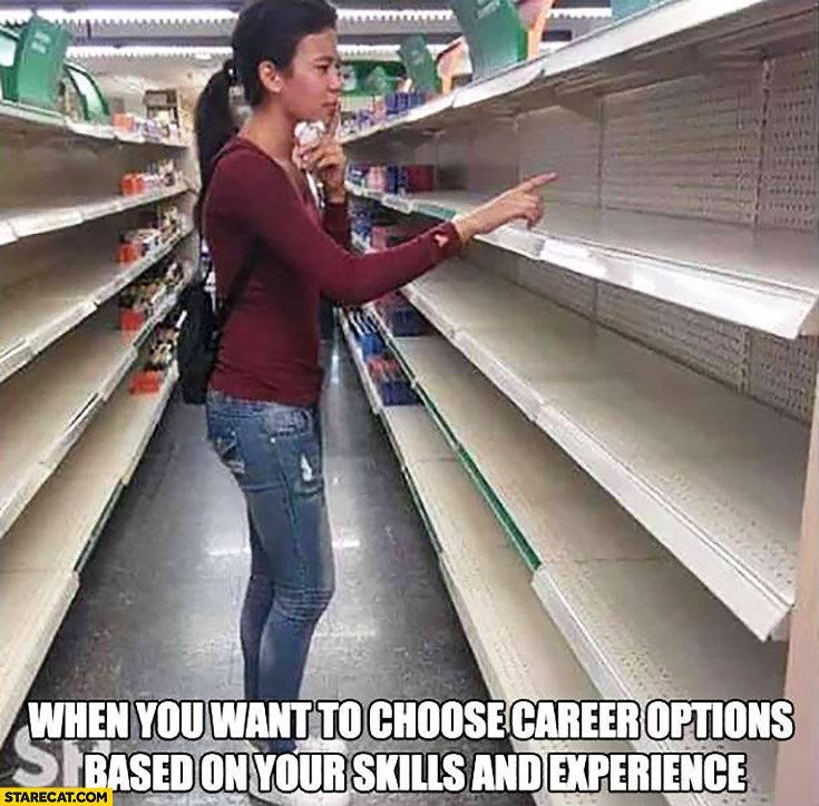 When you want to choose career options based on your skills and experience empty shop empty shelves
