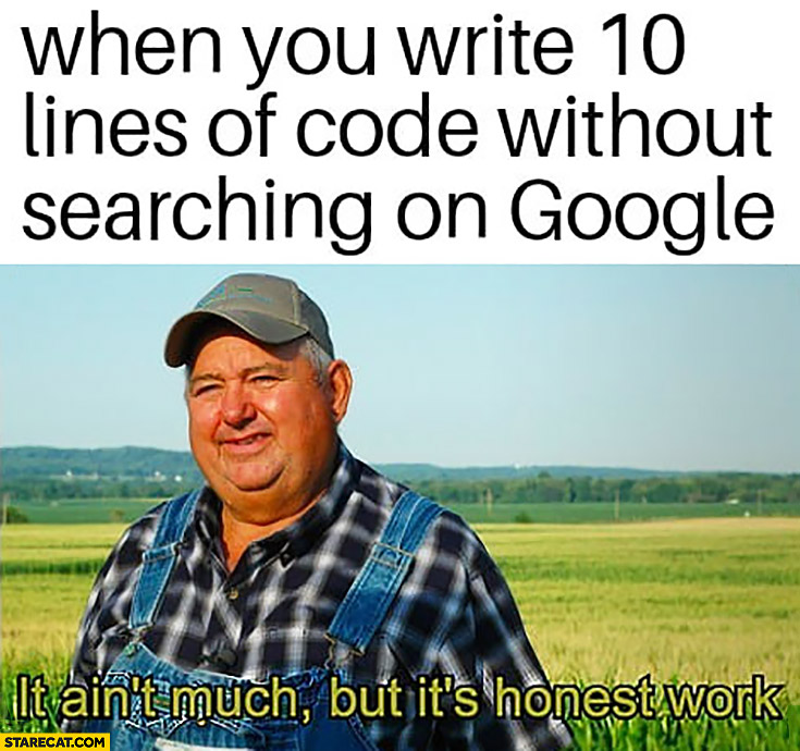When you write 10 lines of code without searching on Google it ain't much but it's honest work farmer