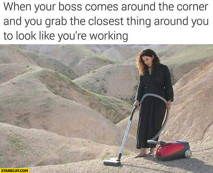When your boss comes around the corner and you grab the closest thing around you to look like youre working vacuuming desert