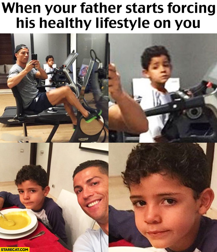 When your father starts forcing his healthy lifestyle on you. Cristiano Ronaldo son kid