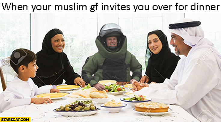 When your Muslim girlfriend invites you over for dinner anti bomb suit