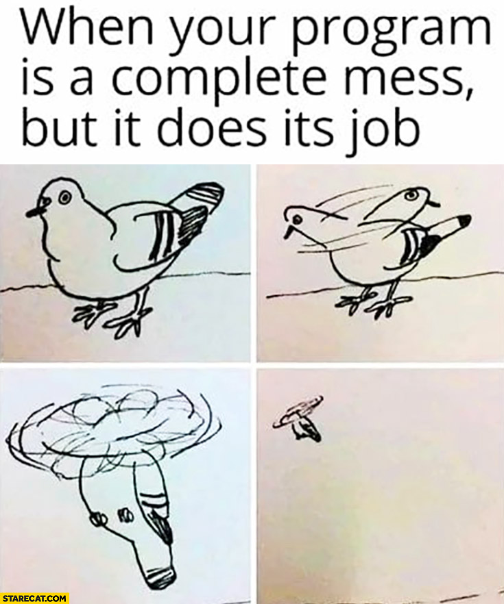 When your program is a complete mess but it does it's job pigeon flying