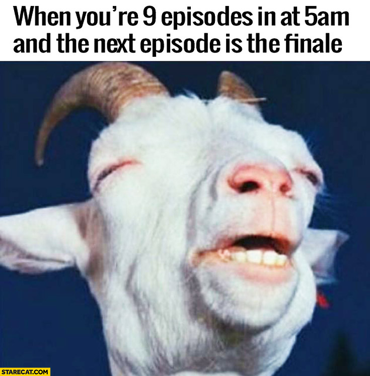 When you're 9 episodes in at 5 am and the next episode is the finale tired goat