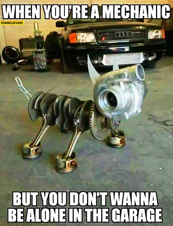 When you're a mechanic but you don't wanna be alone in the garage – dog made out of car parts