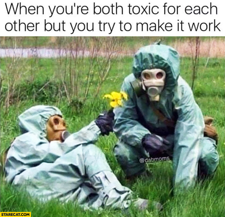 When you're both toxic for each other but you try to make it work wearing gas masks giving each other flowers