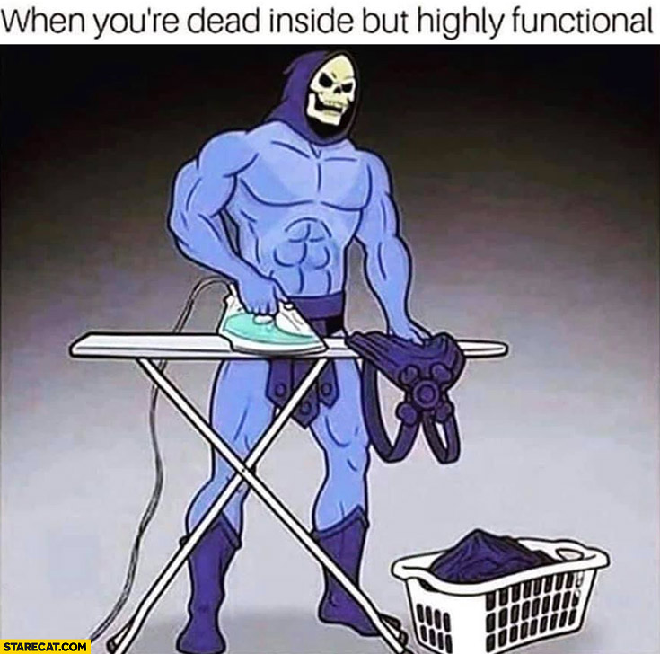 When you're dead inside but highly functional Skeletor