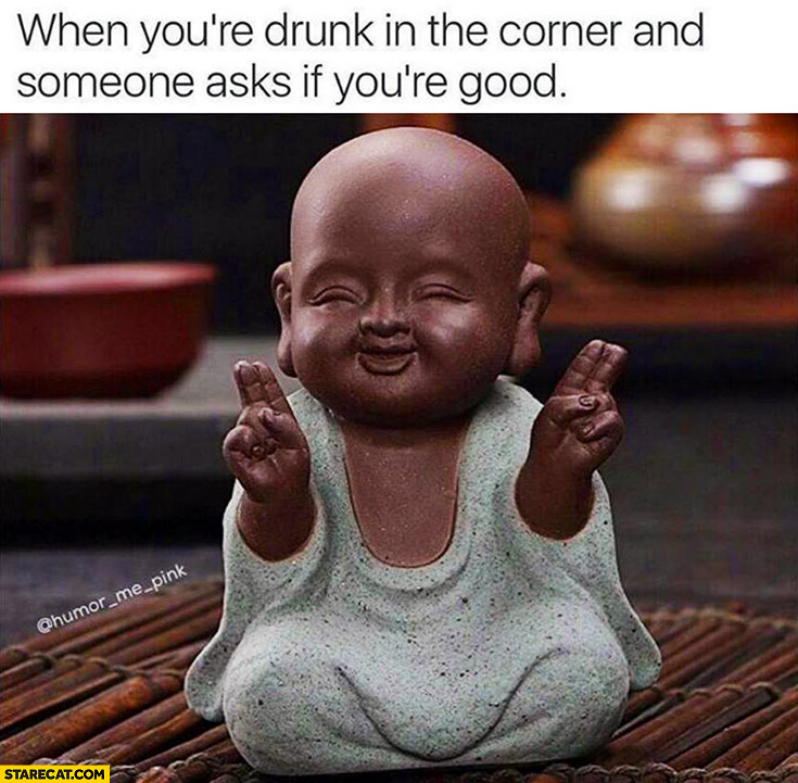 When you're drunk in the corner and someone asks if you're good. Happy buddha