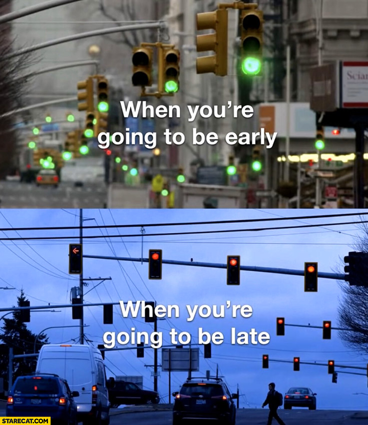 When you're going to be early all lights green vs when you're going to be late all lights red street lights