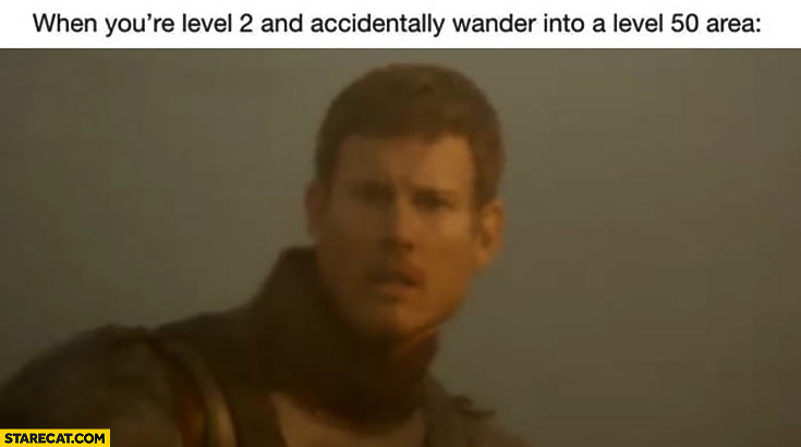 When you're level 2 and accidentally wander into level 50 area