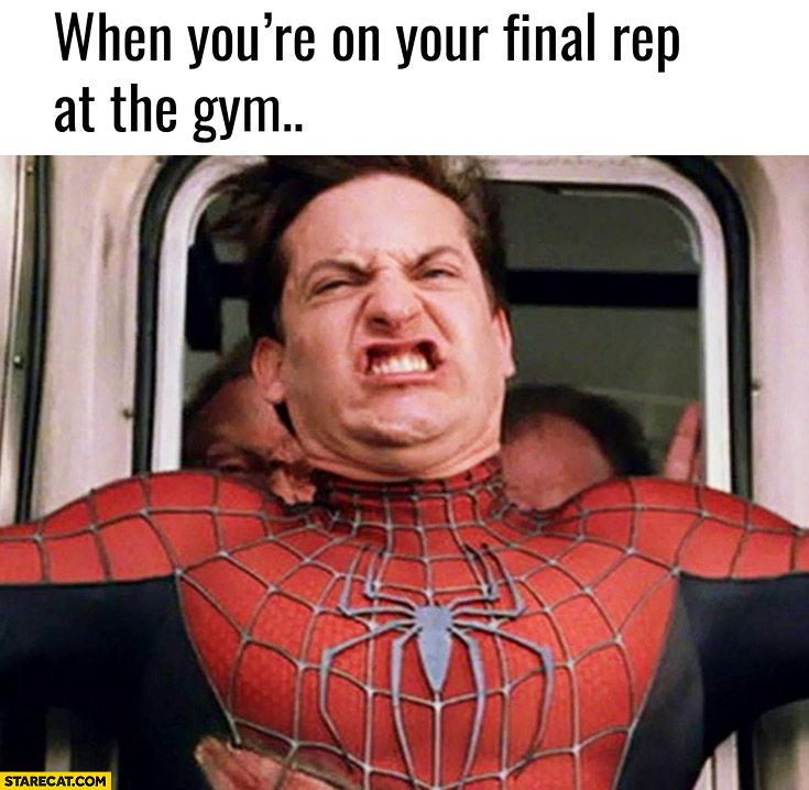 When you're on your final rep at the gym Spiderman