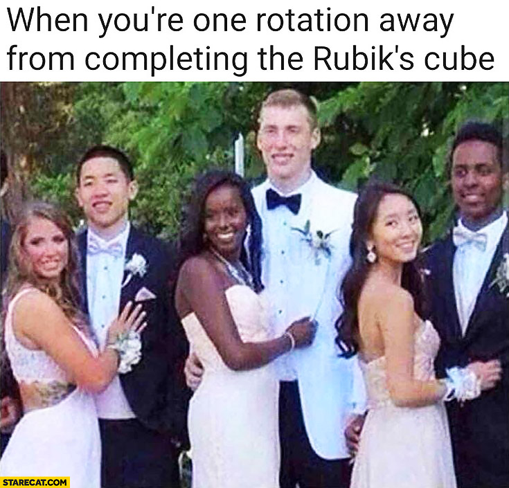 When you're one rotation away from completing the rubiks cube mixed race couples