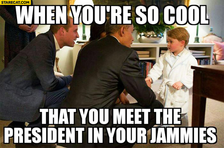 When you're so cool that you meet the president in your jammies. Kid in pyjamas meeting Obama
