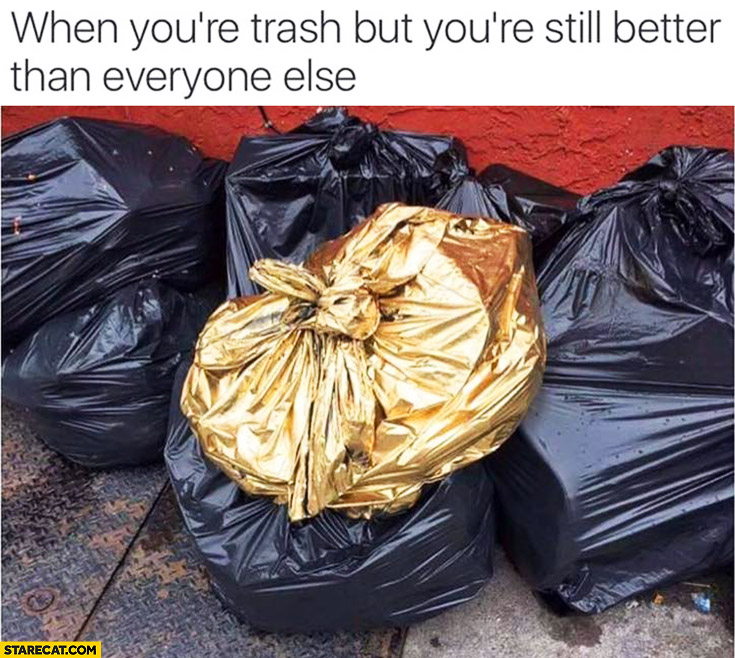When you're trash, but you're still better than everyone else. Golden bin bag