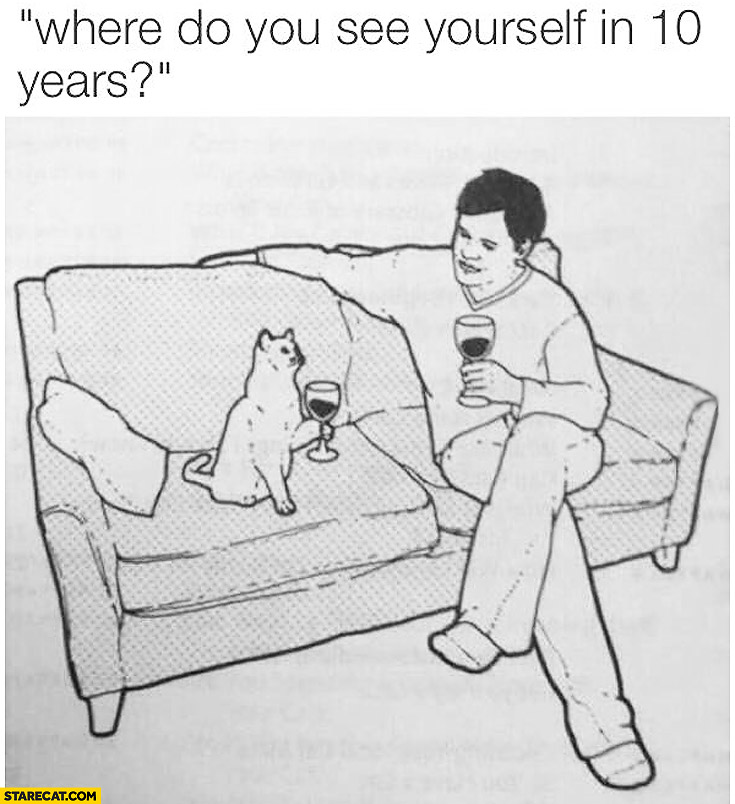 Where do you see yourself in 10 years? On sofa with cat drinking wine