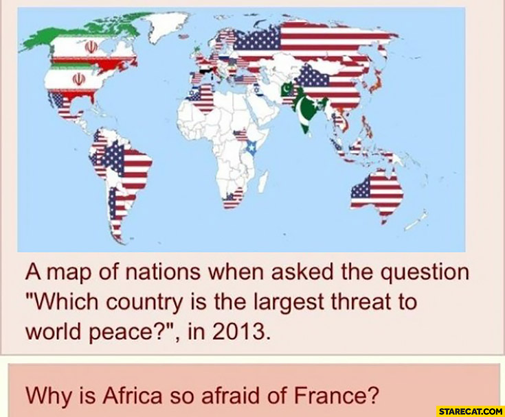 Which country is the largest threat to world peace? Why is Africa so afraid of France? white colour