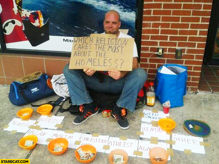 Which religion cares most about the homeless? creative beggar