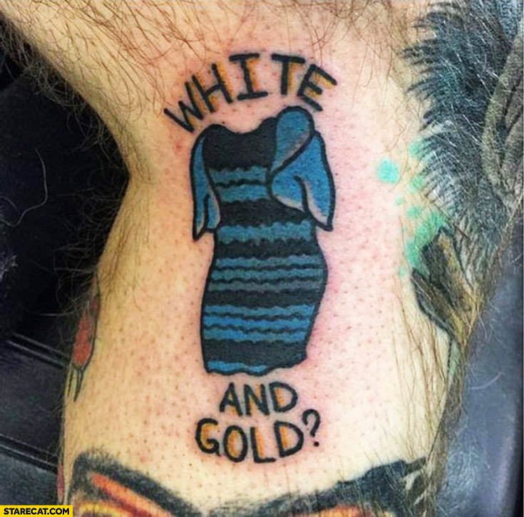 White and gold dress tattoo blue black