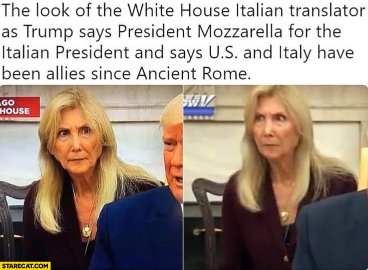 White house Italian translator confused as Trump says president mozzarella