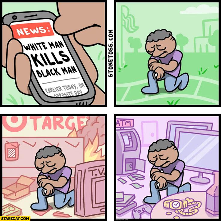 White man kills black man, black man celebrates by burning and looting stonetoss