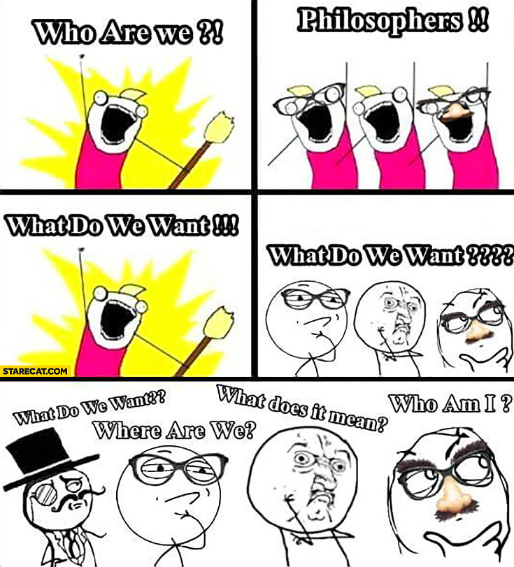 Who are we? Philosophers. What do we want? Where are we? What does it mean? Who am I? meme