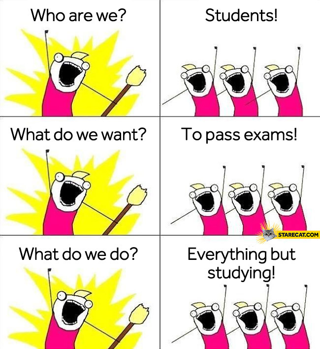 Who are we? Students. What do we want? To pass the exams! What do we do? Everything but studying