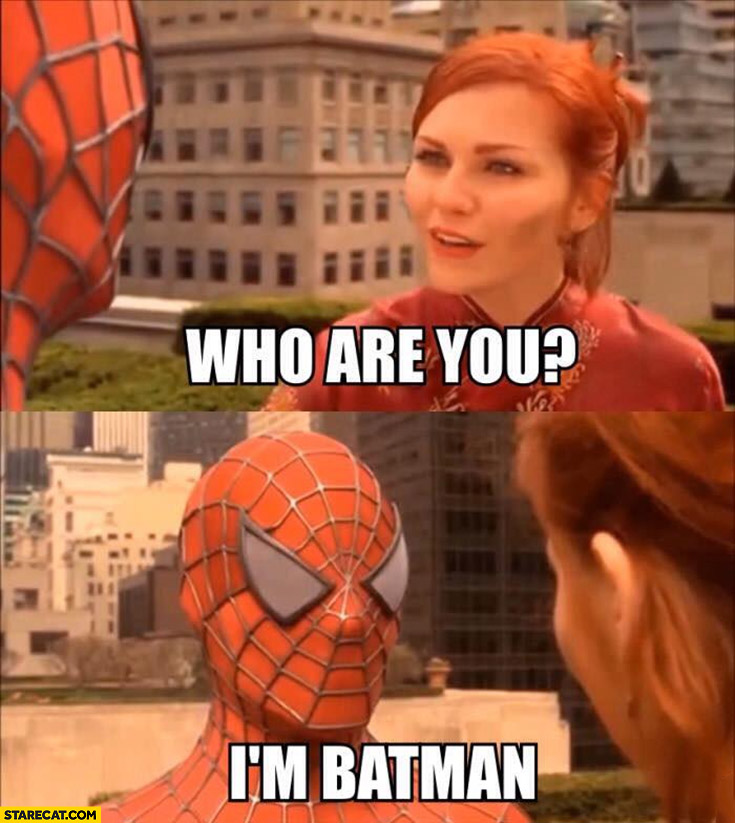 Who are you? I'm Batman Spider-man