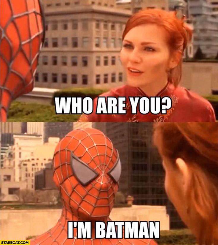Who are you? I'm Batman. Spiderman